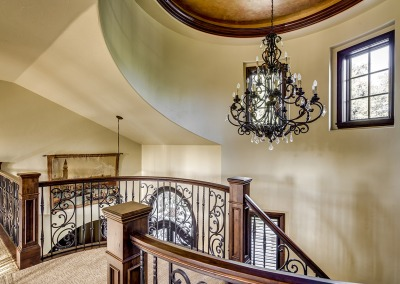Stairway Landing and Chandelier